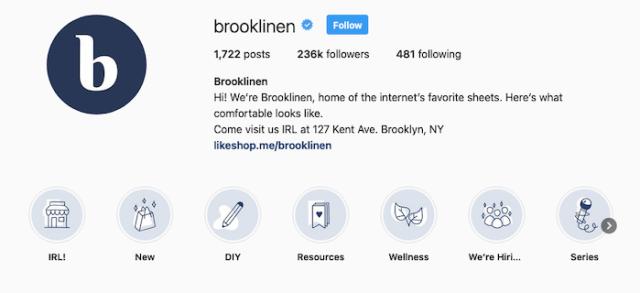 Best Instagram Bios for Ecommerce Businesses - Brooklinen