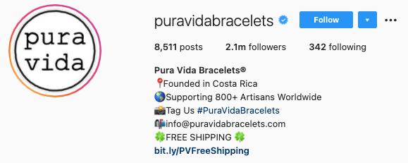 best instagram bios - pure vida