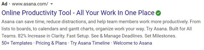 evergreen PPC ads - asana