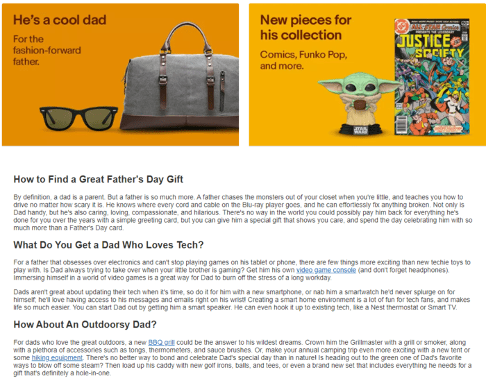 E-commerce Father's Day Sales Examples - eBay