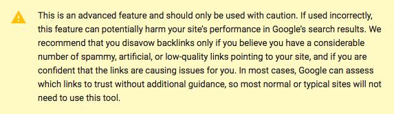 google disavow tool warning