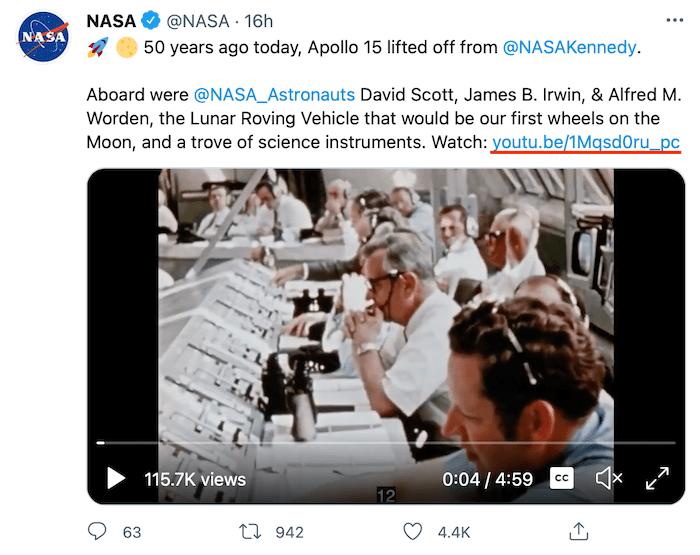 Link Shortener Alternatives to Goo.gl - Example of NASA YouTube Video