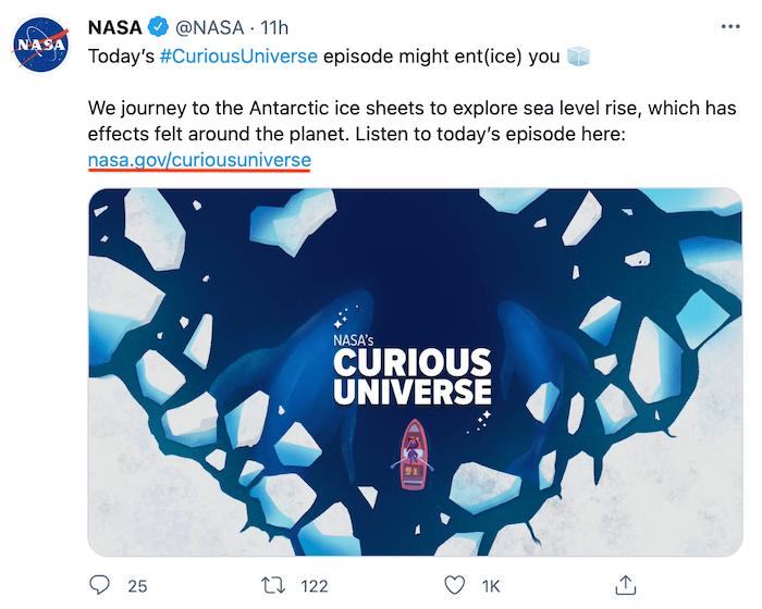 Link Shortener Alternatives to Goo.gl - Example from NASA Twitter Feed