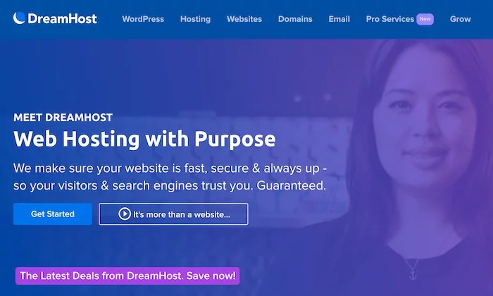 DreamHost splash page for Best Shared Hosting