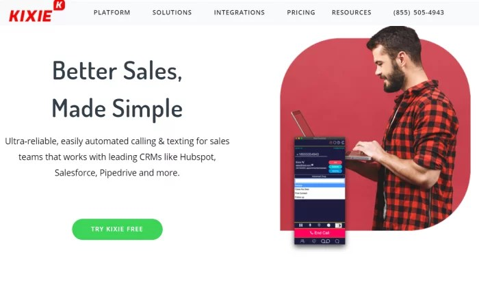 Kixie main splash page for Best Auto Dialer Software