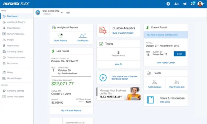 Paychex Flex dashboard for Best Payroll Services