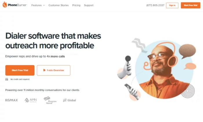 PhoneBurner main splash page for VoIP Phone Services