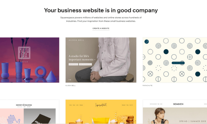 Squarespace examples for Best Ecommerce Platforms