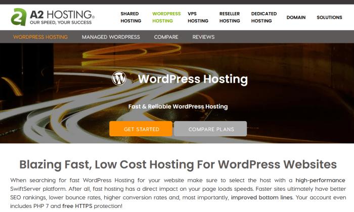 A2 Hosting splash page for Best WordPress Web Hosting