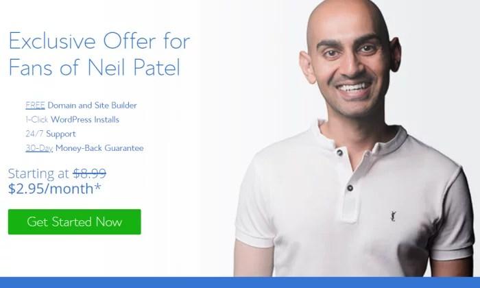 Neil Patel offer via Bluehost for Best Domain Registrar