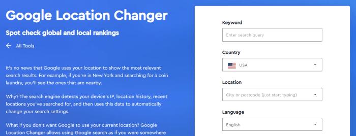 Google location changer free SEO tool