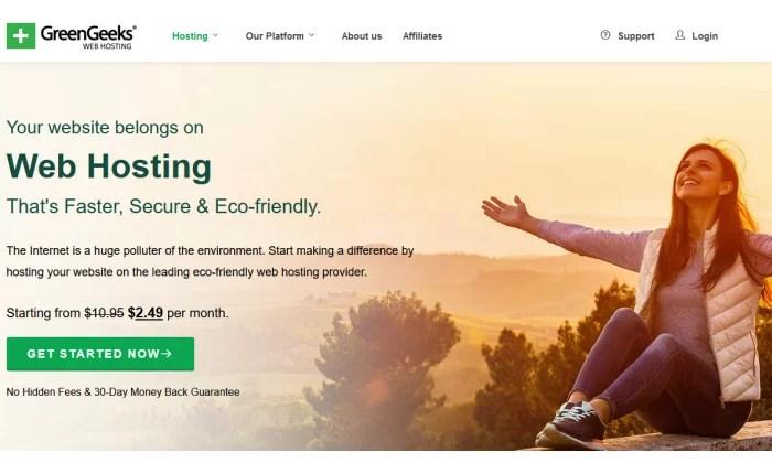 GreenGeeks homepage for Best Cheap Web Hosting