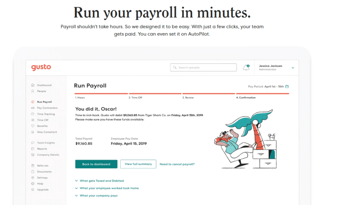 Gusto run payroll demo for Best Payroll Services
