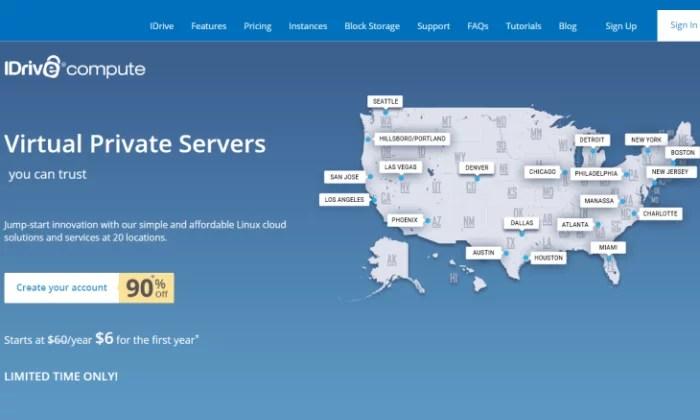 iDrive Compute splash page for Best VPS Hosting