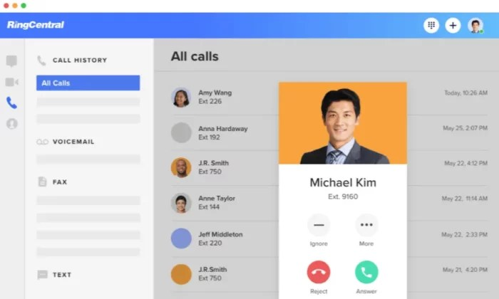 RingCentral interface for VoIP Phone Services
