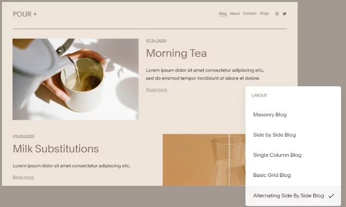 Squarespace template for best blogging platforms