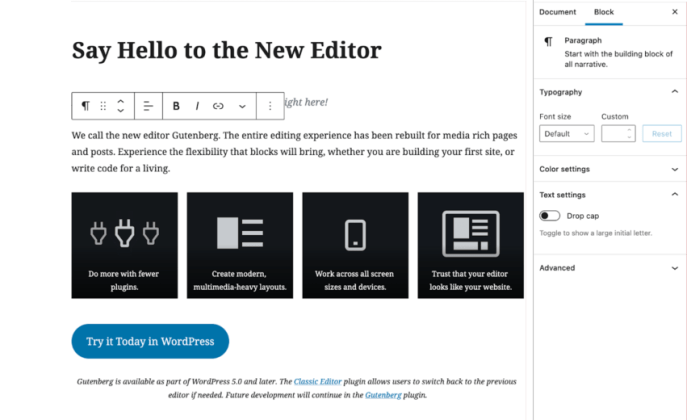 WordPress editor for Best Blogging Platforms