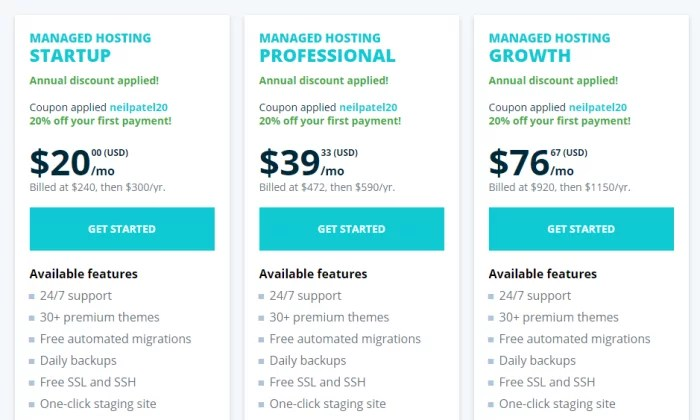 WP Engine pricing for best web hosting services