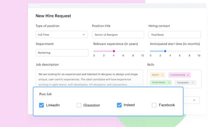 Kissflow new hire request interface for Best HR Software