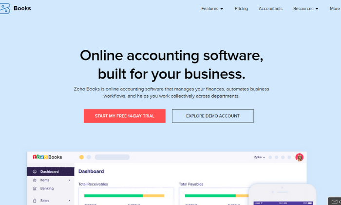 Zoho Books splash page for Best Accounting Software