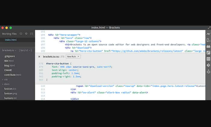 Brackets interface for Best HTML Editors