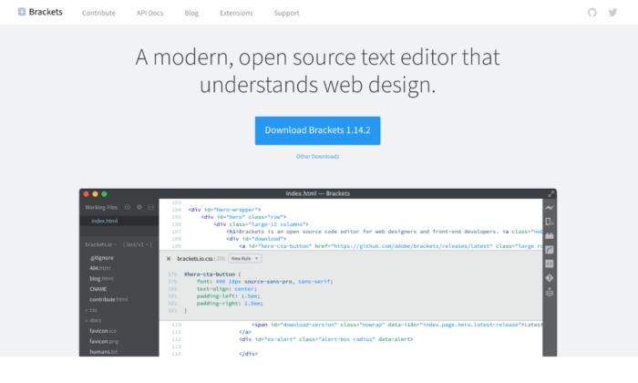 Brackets splash page for Best HTML Editors