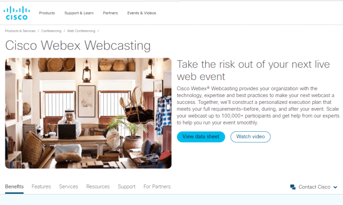 Cisco Webex webcasting page for Best Webcasting Services