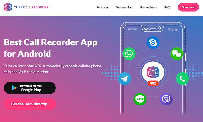 Cube Call Recording main page for Best Call Recording Software