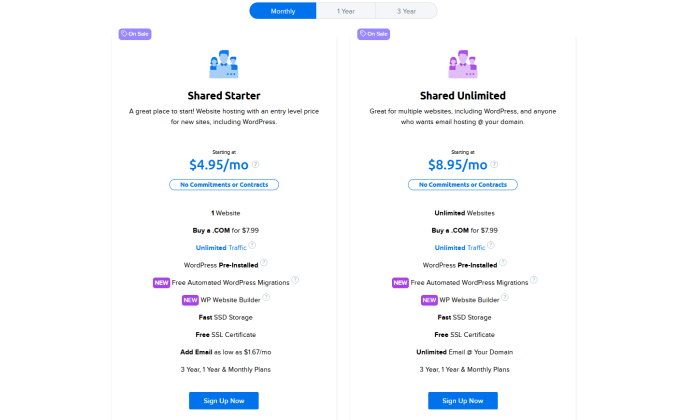 DreamHost monthly pricing for Best Shared Hosting