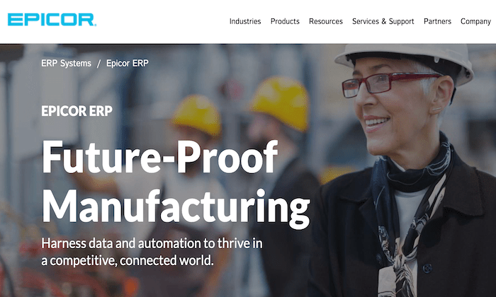 Epicor splash page for Best ERP Software