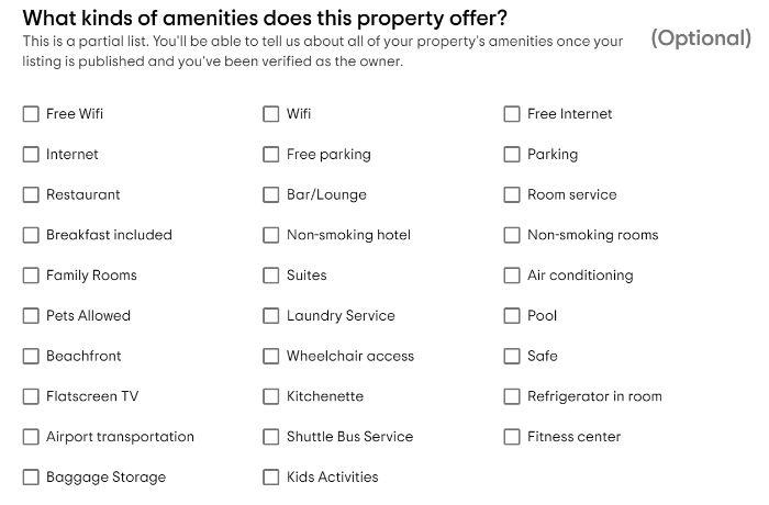 Trip Advisor amenities for google hotel