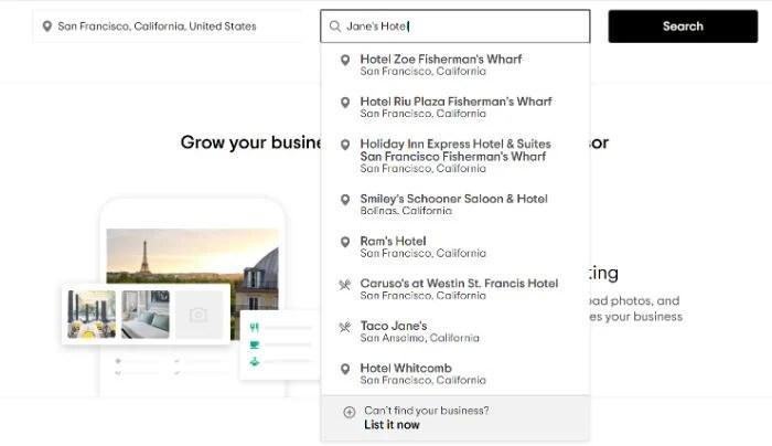 Trip Advisor set up new listing for google hotel