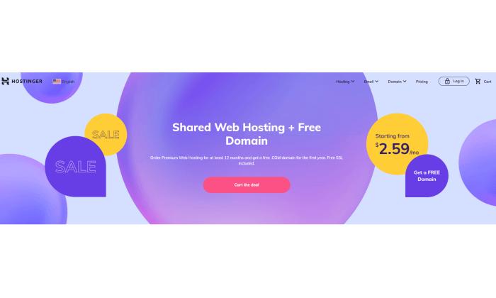 Hostinger splash page for Best Shared Hosting