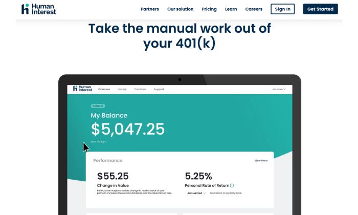 Human Interest 401k interface for Best Employee Retirement Plans