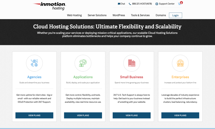InMotion Hosting main page for cloud for Best Cloud Web Hosting