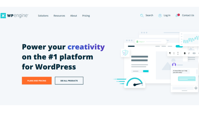 WP Engine main splash page for WP Engine Review