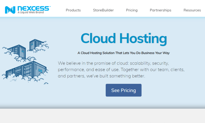 Nexcess main page for cloud for Best Cloud Web Hosting