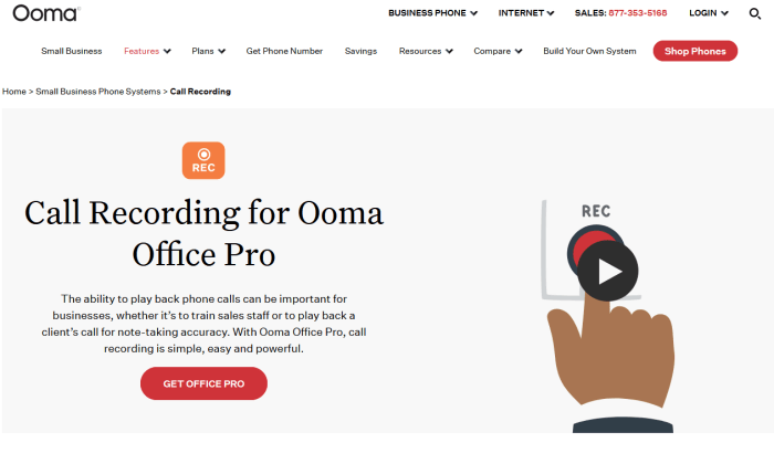 Ooma call recording capability for Best Call Recording Software