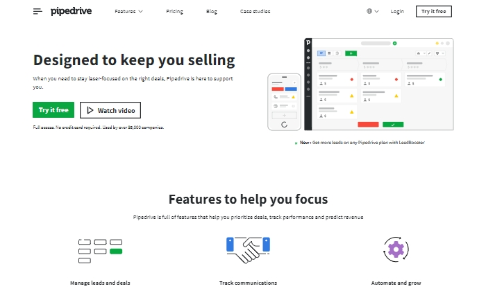 Pipedrive features splash page for Best Contact Management Software