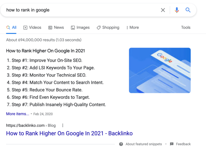 how to rank in google - top SERP