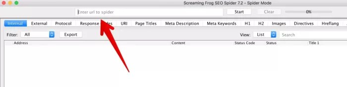 Screamingfrog URL entry for How to Create an SEO-Boosting XML Sitemap