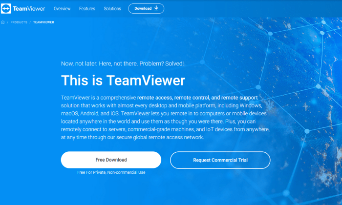 TeamViewer splash page for Best Remote Access Software