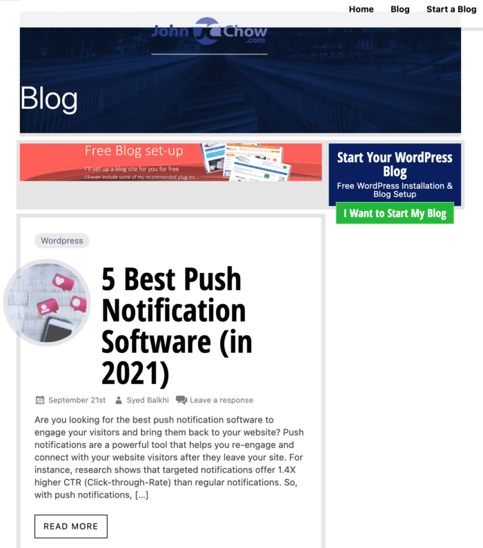 top marketing blogs - John Chow example of pushing services smartly