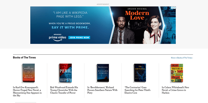 Amazon Prime Video ad copy talks about being a bookworm.