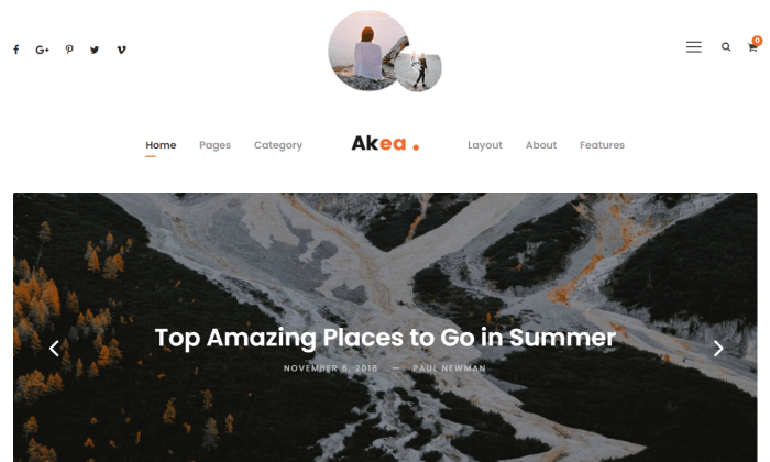 Akea demo page for Best WordPress Themes for Blogs