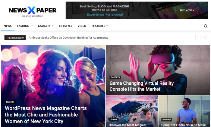 Newspaper demo page for Best WordPress Themes for Blogs
