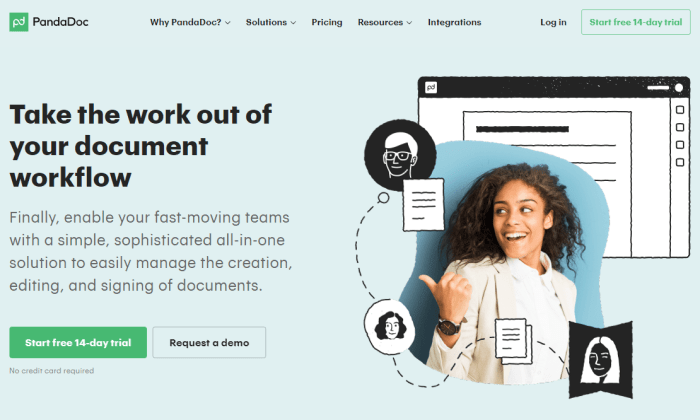 PandaDoc main page for Best Document Management Software