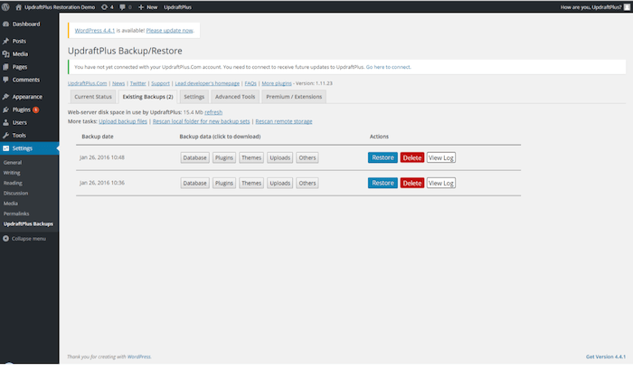 UpdraftPlus backups for Best WordPress Plugins