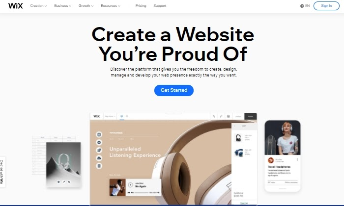 Wix builder main page for Best Free Web Hosting