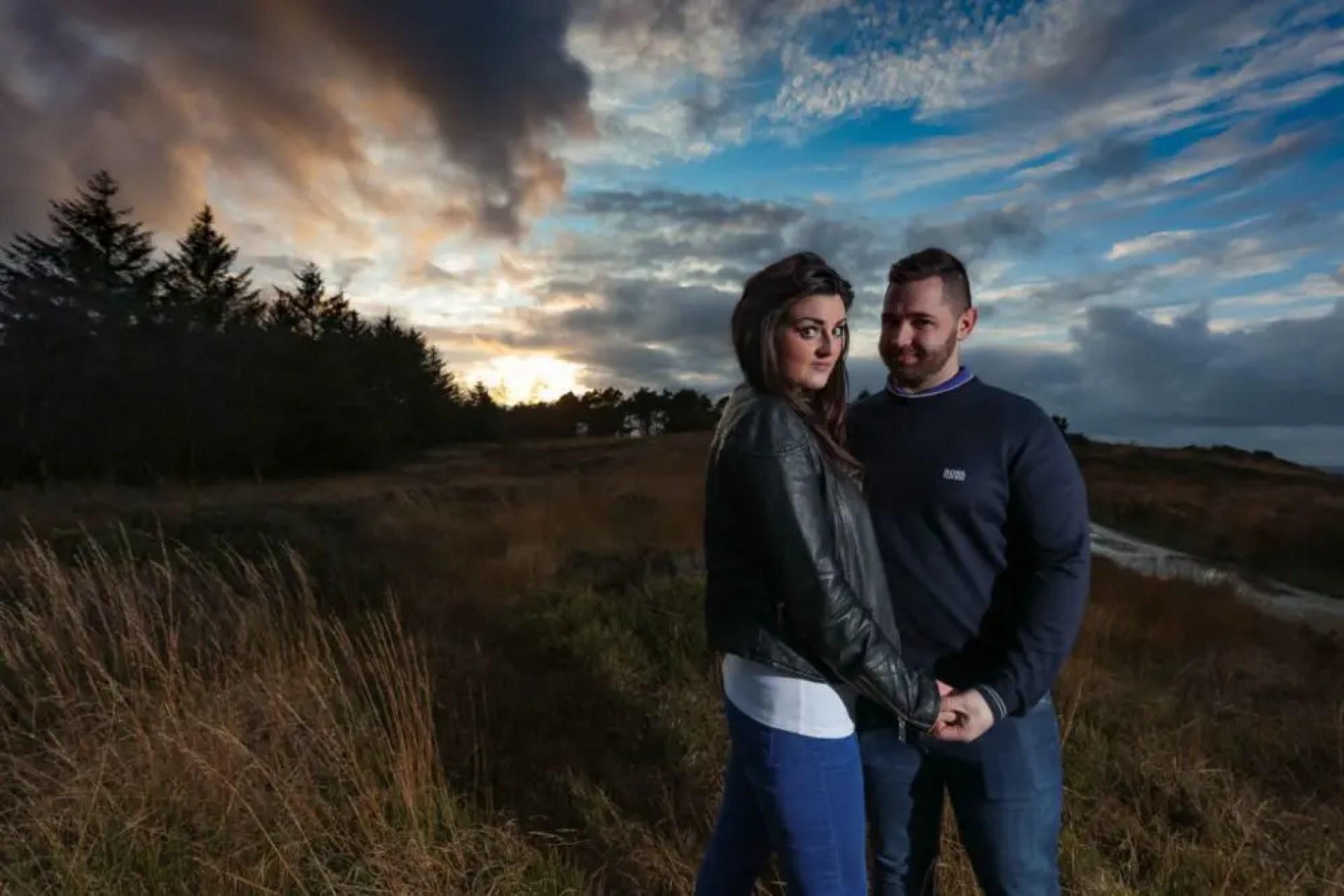 Couple pose on a Lancashire Pre Wedding Shoot at Beacon Fell